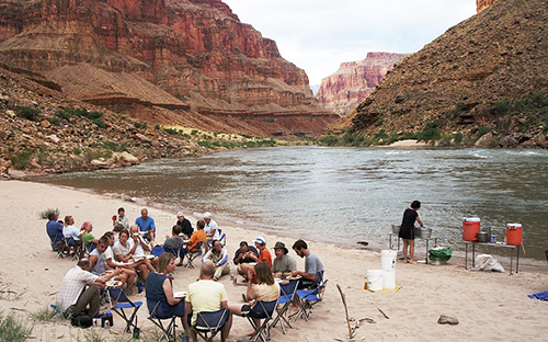 Relaxing on the Colorado River bank for dinner